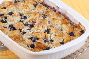Baked blueberry cobbler in a baking dish