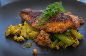 Grilled Cajun Atlantic Salmon served with corns