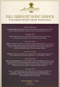 Harvest Wine Dinner @ Alexander's Highland Market